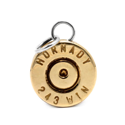 .243 Winchester Brass Casing Pendant, Bullet Jewelry-2938