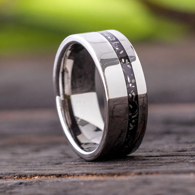 Black Meteorite Wedding Ring