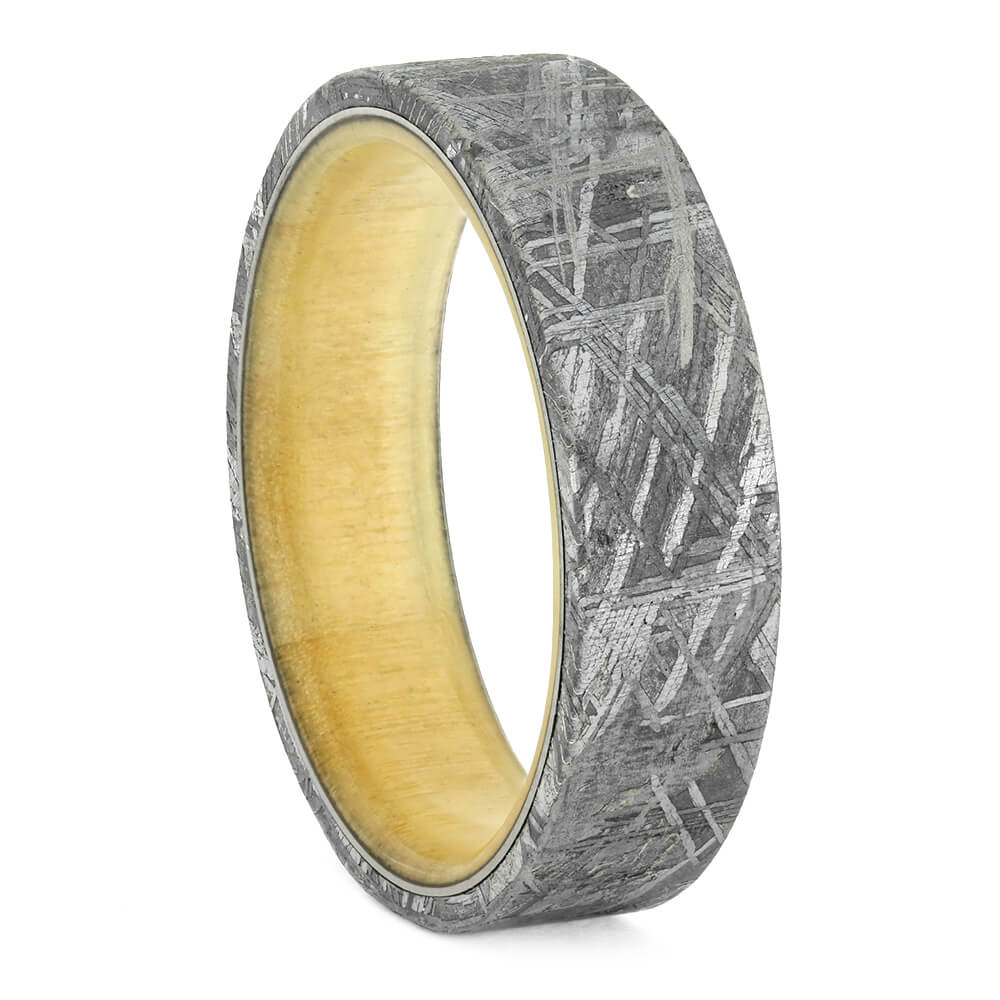 Meteorite Men's Wedding Band With Aspen Wood Sleeve-2477 - Jewelry by Johan