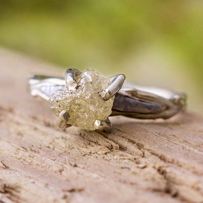 Rough Diamond Engagement Ring, Meteorite Ring With White Gold Branch Style Band-2491 - Jewelry by Johan