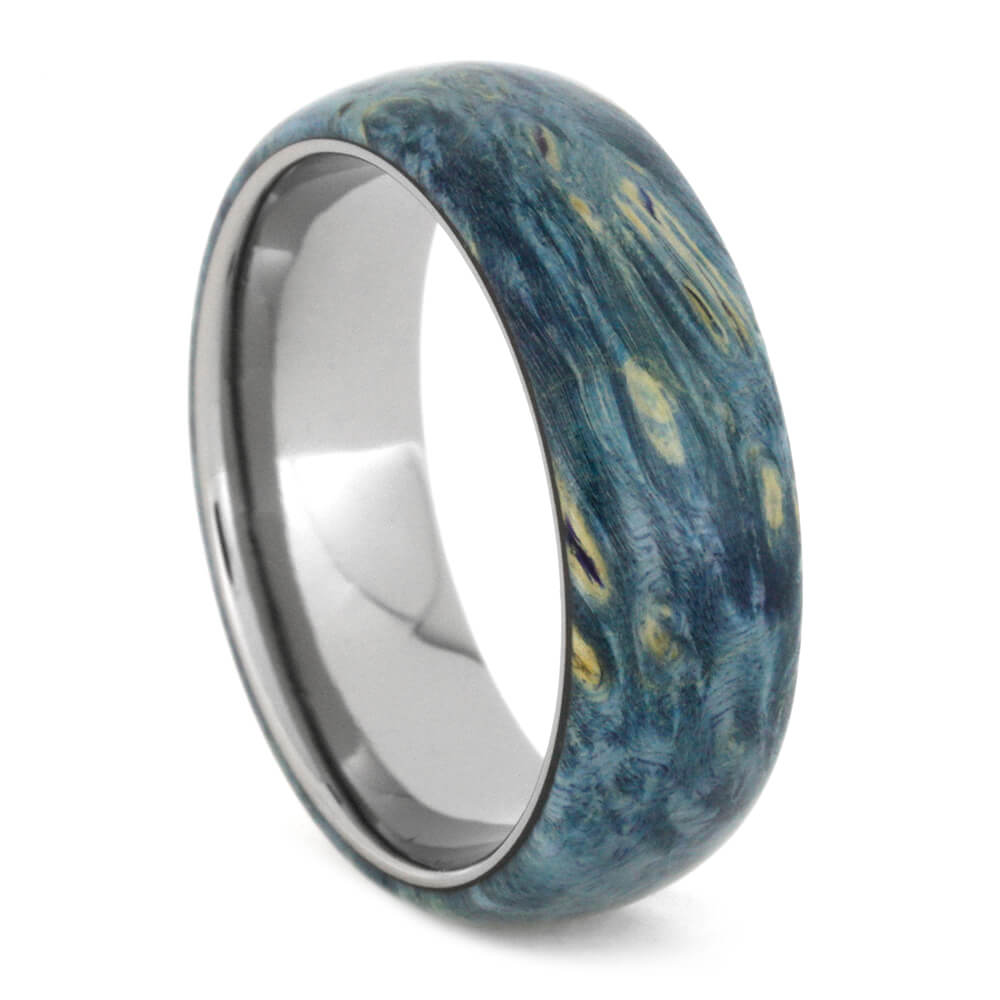 Blue Ring, Titanium Band Overlaid With Blue Box Elder Burl