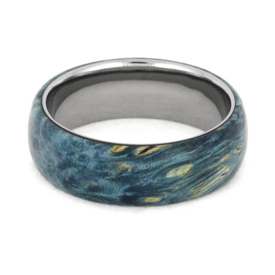 Blue Ring, Titanium Band Overlaid With Blue Box Elder Burl-2506 - Jewelry by Johan