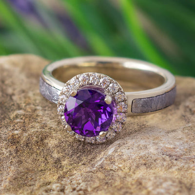 Meteorite and Amethyst Engagement Ring