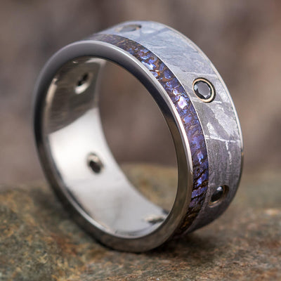 Black Diamond Men's Wedding Band, Meteorite Ring With Dinosaur Bone-2600 - Jewelry by Johan