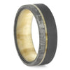 Sandblasted Meteor Ring, Aspen Wood Wedding Band With Meteorite-2608