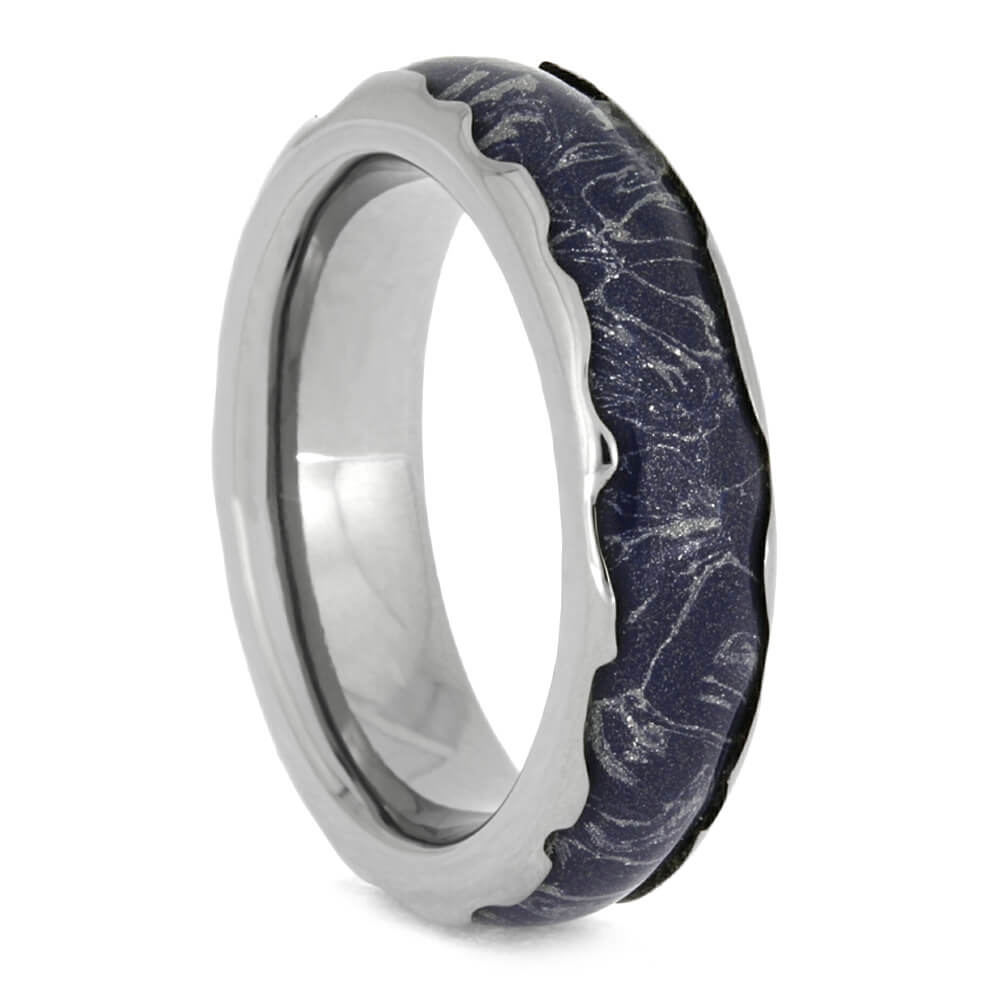 Blue Mokume Gane Ring, Titanium Wedding Band With Wavy Edges-2624 - Jewelry by Johan