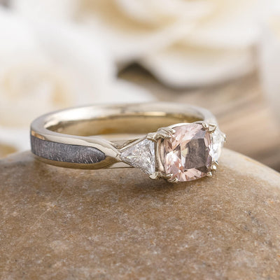 Morganite Engagement Ring With Trillion Cut Diamonds, Meteorite Ring-2633 - Jewelry by Johan