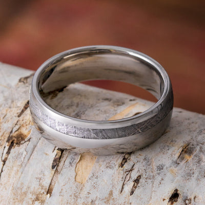 Gibeon Meteorite Wedding Band, Unique Titanium Ring for Men-2636 - Jewelry by Johan