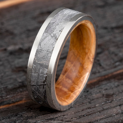 Whiskey Oak Wood Ring, Meteorite Men's Wedding Band In Titanium-2649 - Jewelry by Johan