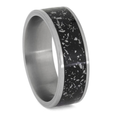 Black Stardust™ Masculine Tungsten Ring With Matte Finish-2654 - Jewelry by Johan