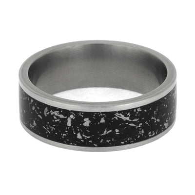 Black Stardust™ Masculine Titanium Ring With Matte Finish-2654 - Jewelry by Johan