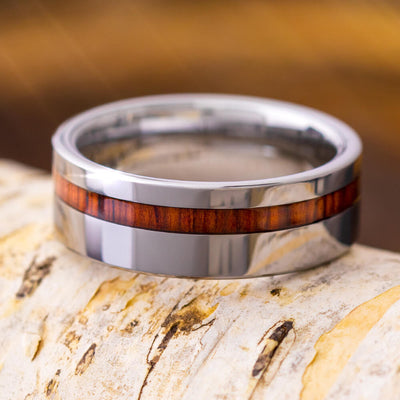 Honduran Rosewood Ring, Tungsten Wedding Band, Wooden Inlay Ring-2710 - Jewelry by Johan