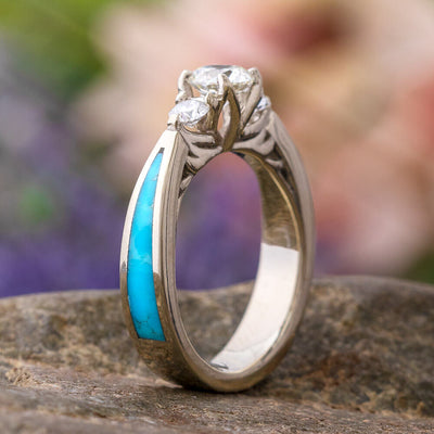 Three Stone Moissanite Ring with Genuine Turquoise in White Gold-2728 - Jewelry by Johan