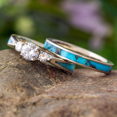 Turquoise Bridal Set With White Gold Three Stone Engagement Ring-2729 - Jewelry by Johan