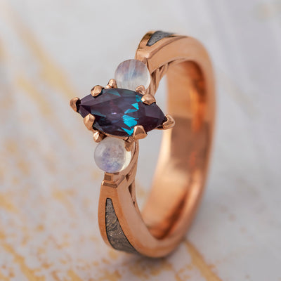 Alexandrite Engagement Ring With Moonstones, Alternative Engagement Ring-2742 - Jewelry by Johan