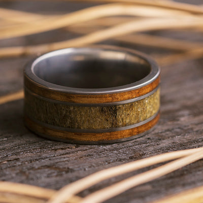 Whiskey Barrel Wood and Antler Men's Wedding Band-2762 - Jewelry by Johan
