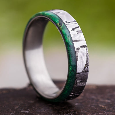 Rare Meteorite Ring, Men's Wedding Band With Green Box Elder Wood-2765 - Jewelry by Johan