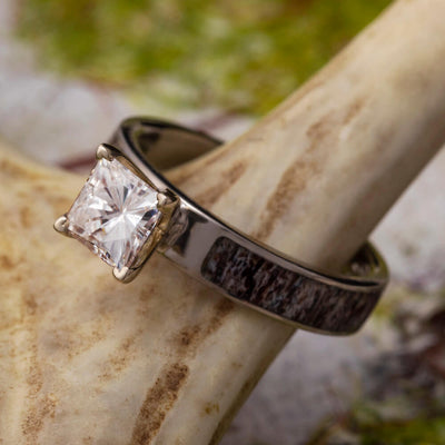 Princess Cut Moissanite Engagement Ring with Deer Antler-4315 - Jewelry by Johan