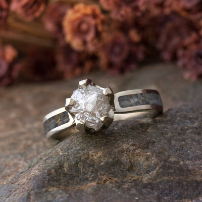 Rough Diamond Engagement Ring with Dinosaur Bone-2808 - Jewelry by Johan