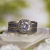 Meteorite Bridal Set in 10k White Gold, Halo Engagement Ring-2838