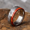 Titanium Men's Wedding Band with Meteorite and Tulipwood-2852 - Jewelry by Johan