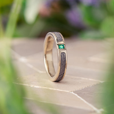Meteorite and Emerald Wedding Ring