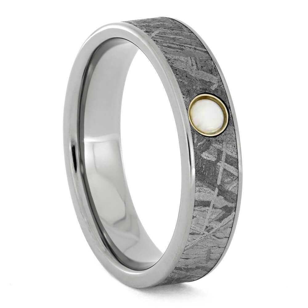 Meteorite Wedding Band in Titanium with Opal Gemstone-2859 - Jewelry by Johan