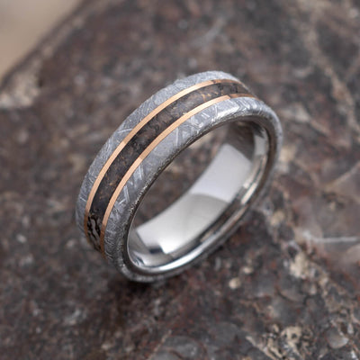 Dinosaur Bone Ring With 14k Rose Gold Pinstripes and Meteorite