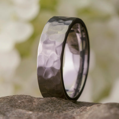 Hammered Titanium Wedding Band, Solid Titanium Band-2891 - Jewelry by Johan