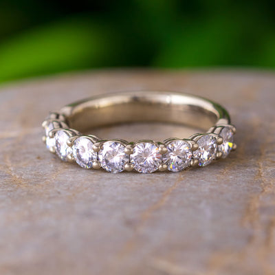 Custom Moissanite Wedding Band Styled in 10k White Gold-2971 - Jewelry by Johan