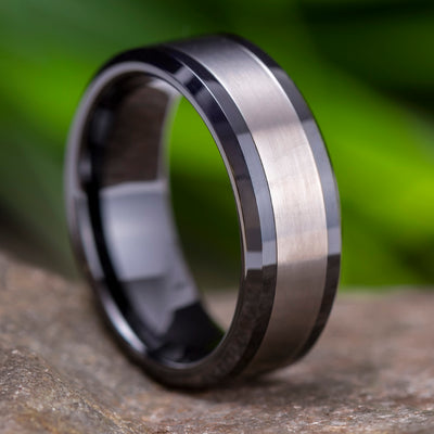 Black Ceramic Wedding Band With Titanium Inlay-2972 - Jewelry by Johan