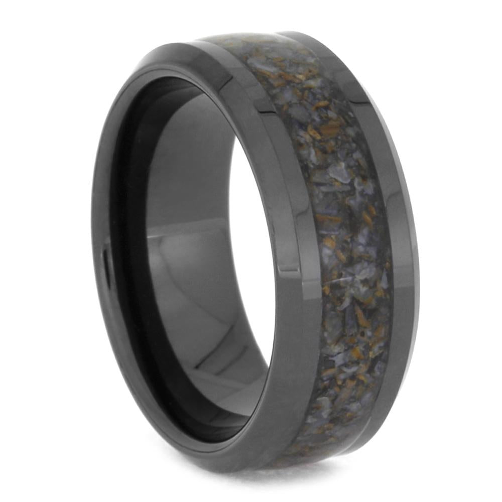Black Ceramic Wedding Band With Crushed Dinosaur Bone-3331 - Jewelry by Johan