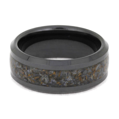 Black Ring With Fossil Inlay