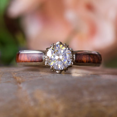 Moissanite Engagement Ring with Platinum Lotus Flower Setting-3136 - Jewelry by Johan