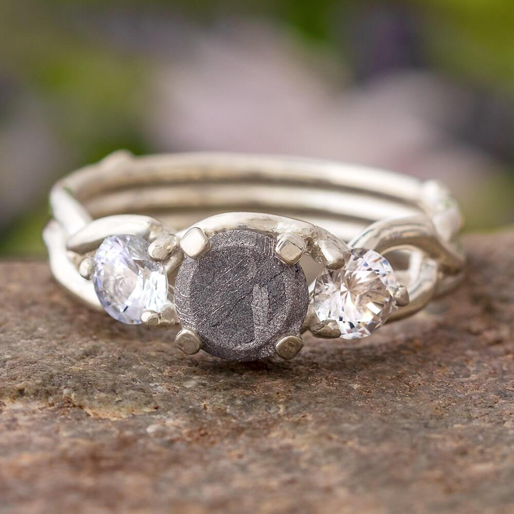 White Sapphire & Meteorite Engagement Ring, In Stock-SIG3049 - Jewelry by Johan