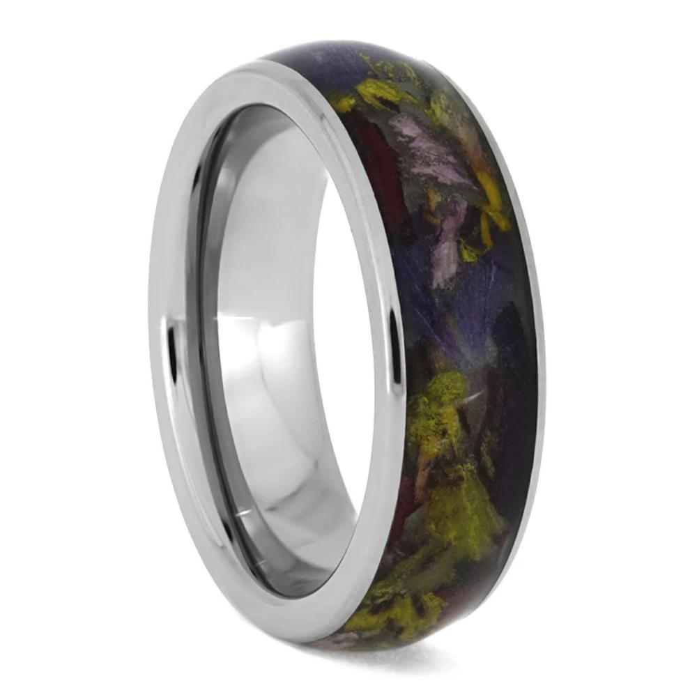 Flower Ring, Titanium Ring With Flower Petals-3218