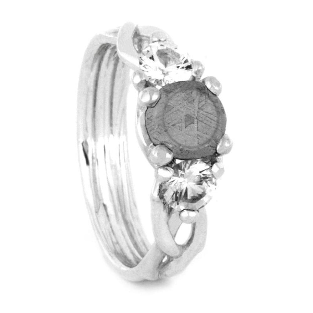 Meteorite Engagement Ring, Moissanite Accents in Silver Ring-3277
