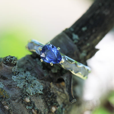 Pear-Cut Sapphire Ring with Meteorite