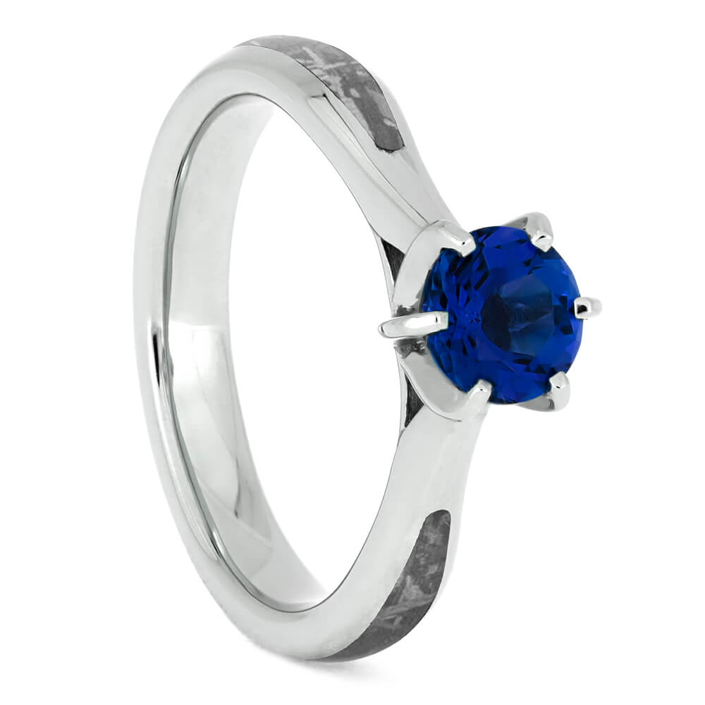 Blue Sapphire Engagement Ring with Gibeon Meteorite in Sterling Silver