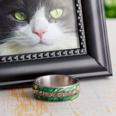 Pet Memorial Ring With Green Box Elder Burl, Remembrance Ring-3351 - Jewelry by Johan