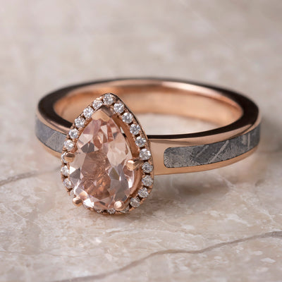 Morganite Engagement Ring In 14k Rose Gold With Meteorite, Moissanite Halo Ring-3361