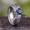 Blue Sapphire Engagement Ring, Meteorite Ring, 10k White Gold Ring-3363 - Jewelry by Johan
