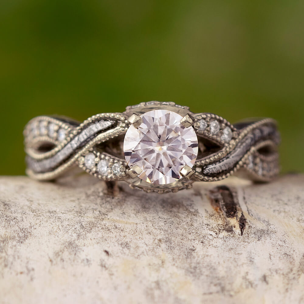 Moissanite Engagement Ring With A Twist Meteorite And Diamond Shank-3378WG - Jewelry by Johan