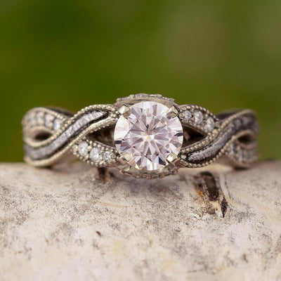 Moissanite Engagement Ring With A Twist Meteorite And Diamond Shank