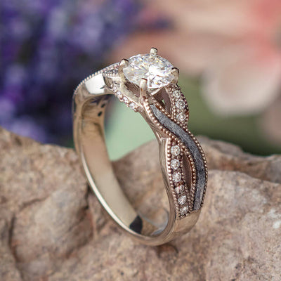 Twisting Meteorite Engagement Ring