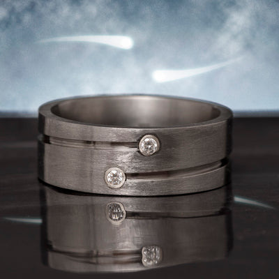 Double Diamond Ring in Grooved Titanium Wedding Band-3395