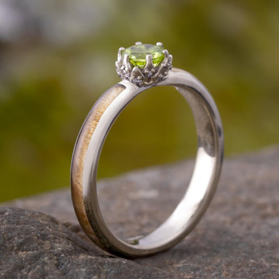 Peridot Engagement Ring with Diamond Lotus and Black Ash Burl-3402 - Jewelry by Johan