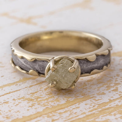 Rough Diamond Engagement Ring, Meteorite Ring In Wavy White Gold Design-3427 - Jewelry by Johan