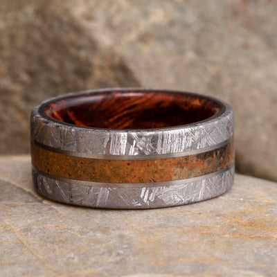 Fossil Ring With Meteorite