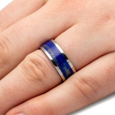 Mens Lapis Lazuli Ring, Titanium Wedding Band-3431 - Jewelry by Johan